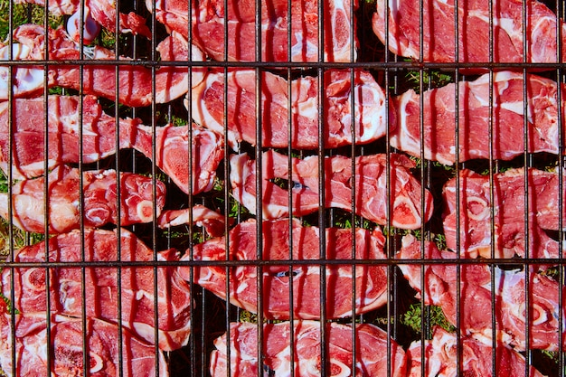 Lamb meat grilled at bar b cue from spain Premium Photo