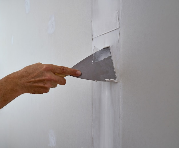 Laminated plasterboard plastering join Premium Photo