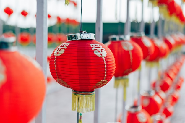 Lamp chinese new year in the chinese country bright colors in red chinese new year concept Premium Photo