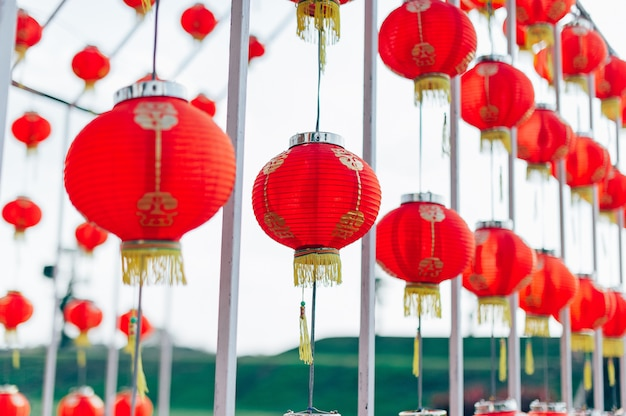 Lamp chinese new year in the chinese country Premium Photo