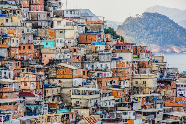 Landscape of the cantagalo favela Premium Photo