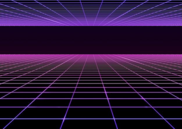 ランドスケープグリッドレベルレスパースペクティブ80年代ネオンアートコンセプトライトダークグラデーションカラー3dイラストテクノロジー背景 Premium写真