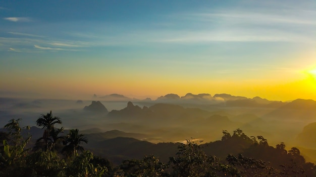 Landscape of layer khao thalu, tambon khao thalu, sawi district, chumphon, thailand Premium Photo