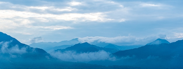 Landscape mountain blue tone background. Premium Photo