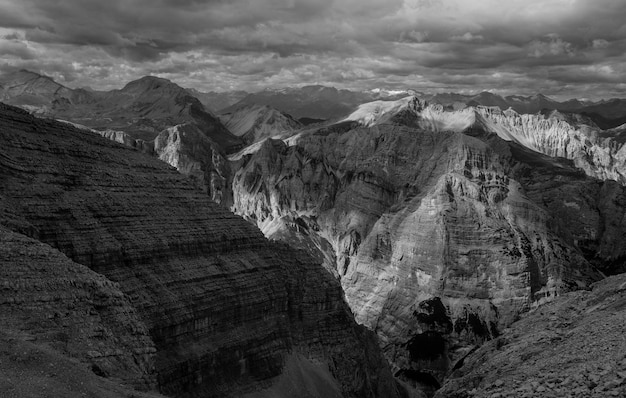 Landscape of mountains in black and white Free Photo