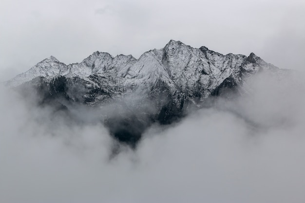 Landscape   of mountains covered in snow Free Photo