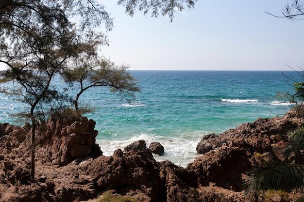夏の海の海岸の景色と手前の岩に打ち寄せる波と美しい熱帯の海の自然の風景の風景を眺めます。 Premium写真