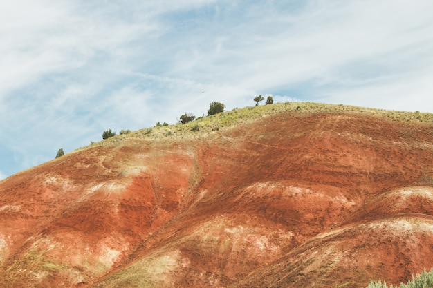 青い曇り空の下で赤い砂と緑に覆われた丘の風景 無料写真