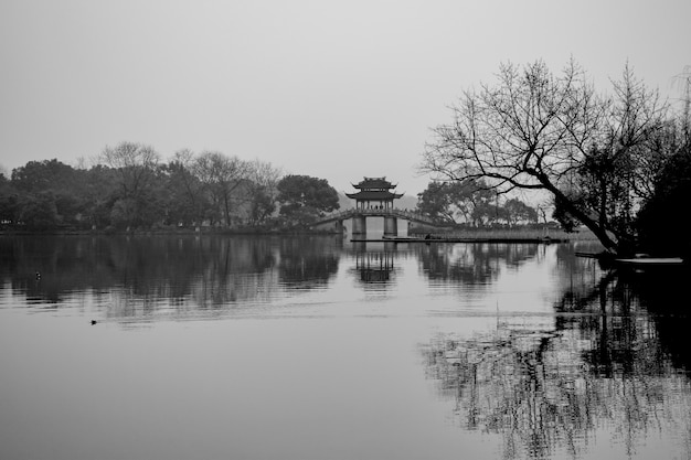 Landscape Of A Lake In Black And White Photo