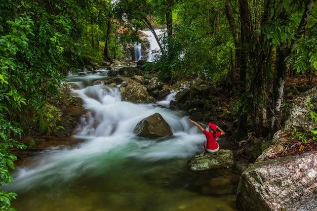 Пейзаж водопада в лесу Premium Фотографии