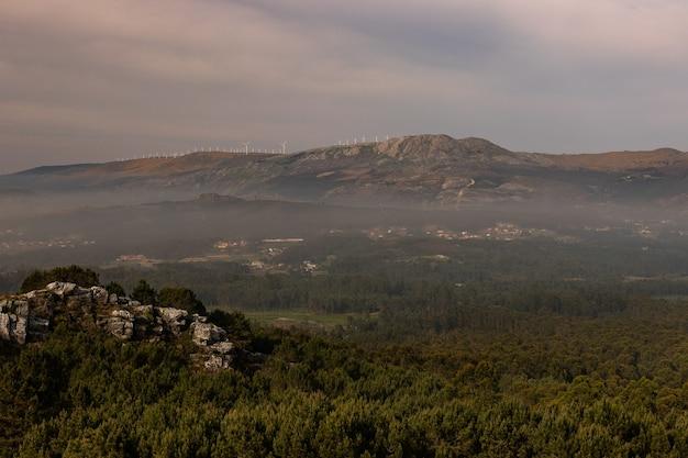 夕方の曇り空の下で緑と霧に覆われた丘と岩の風景 無料写真