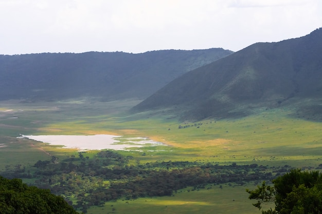 Пейзаж кратера нгоро-нгоро. озеро и холм внутри кратера. танзания, африка Premium Фотографии