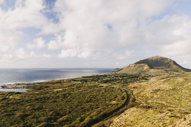 曇り空と日光の下で緑に囲まれた海の風景 無料写真