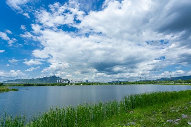 Landscape reservoir of coal power plant Premium Photo
