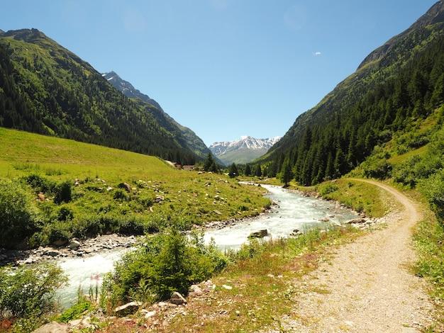 Paesaggio colpo del parco naturale adamello brenta strembo italia in un cielo blu chiaro Foto Gratuite