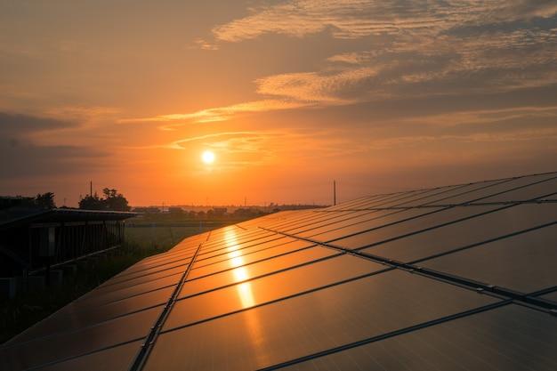 Landscape of solar farm at sunset Premium Photo