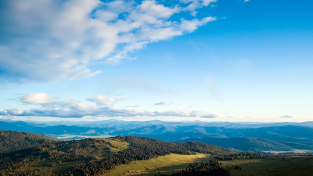 A landscape view of beautiful fresh green forest, road  chui tract and  altai mountain background. Premium Photo