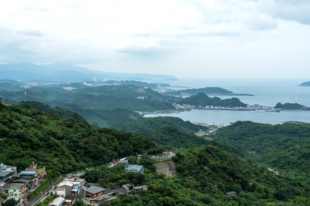 Landscape view from  jiufen, taipei, taiwan. Premium Photo