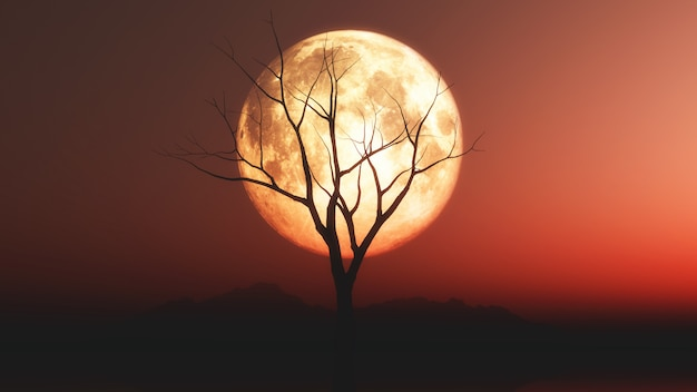 Landscape with old tree silhouette against a red moonlit sky Free Photo