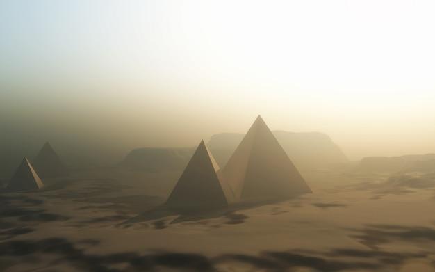 Paesaggio con piramidi nel deserto Foto Gratuite