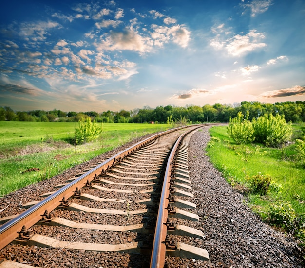 Landscape with a railway among a green field Premium Photo
