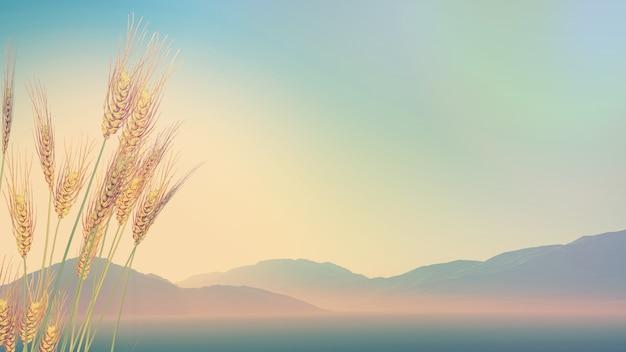 3d визуализации пшеницы с холмов на расстоянии с ретро эффект Бесплатные Фотографии