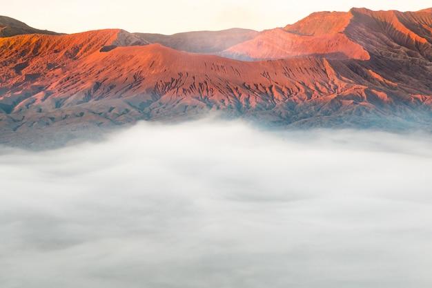 Landscapes mount bromo volcano sunrise, east java, indonesia. Premium Photo