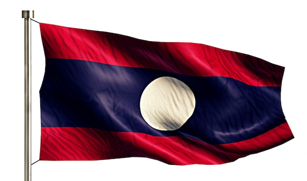 Laos National Flag Isolated 3D White Background Free Photo