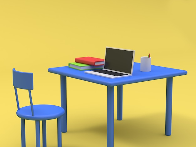 Laptop on blue table and book cartoon style yellow background 3d rendering Premium Photo