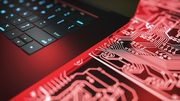 Laptop computer and circuit board. Premium Photo