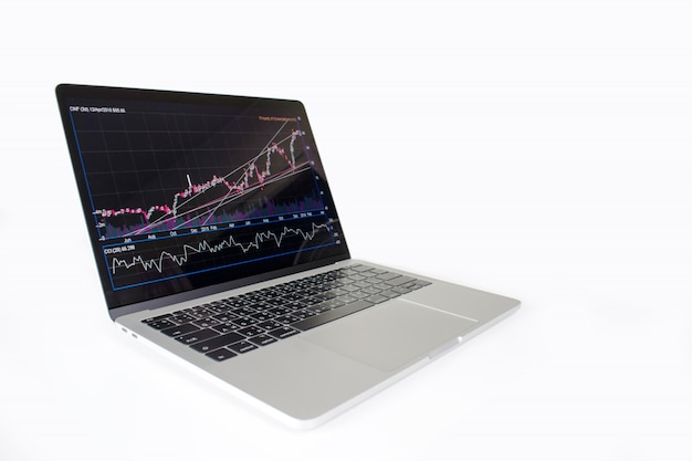 Laptop computer image showing financial graph on screen. financial concept. Premium Photo