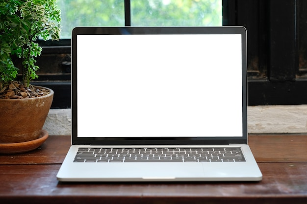 laptop computer with blank screen for mock up template background