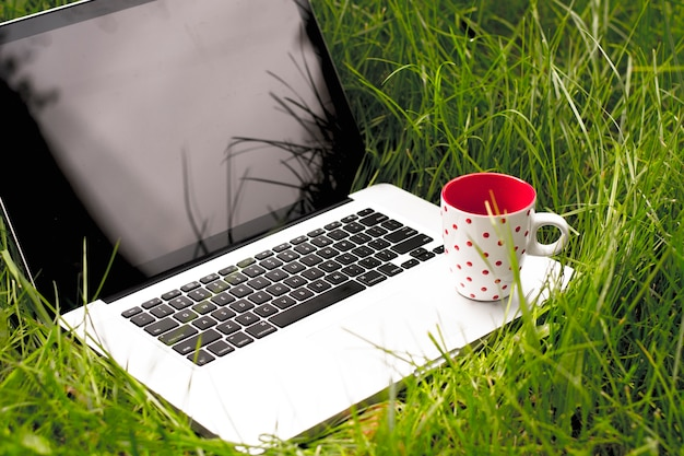 Laptop computer with cup of coffee on green grass Premium Photo
