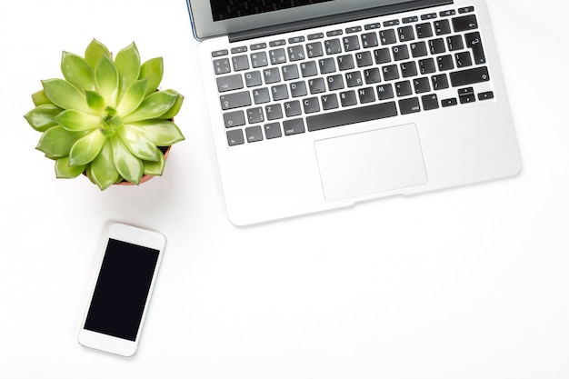 Laptop computer with plant in a pot and modern cell phone . Premium Photo