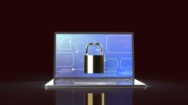 Laptop and master key for computer security content Premium Photo