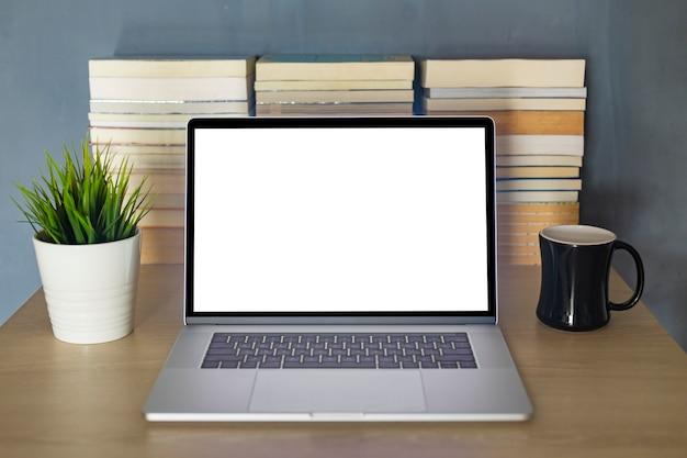 Макет ноутбука для онлайн-обучения. пустой экран монитора в онлайн-классе Premium Фотографии