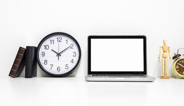 Laptop mockup on stylish organized working desk. Premium Photo