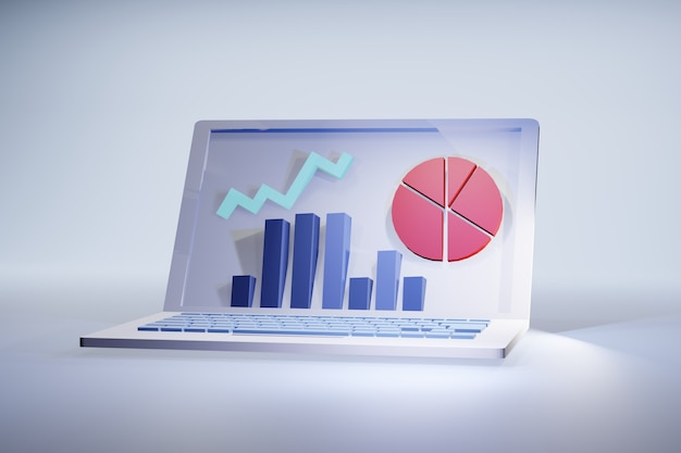 Laptop statistics 3d illustration: screen with financial or marketing results graphs Premium Photo