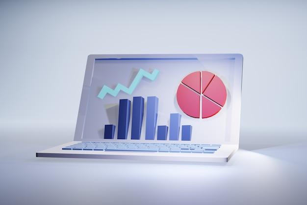 노트북 통계 3d 그림 : 재무 또는 마케팅 결과 그래프가있는 화면 프리미엄 사진