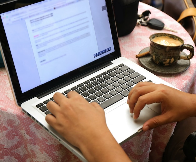 Laptop on table Premium Photo