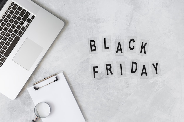 Laptop with black friday inscription Free Photo