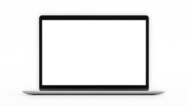 Laptop with blank screen. computer mockup and clipping path.  3d render. Premium Photo