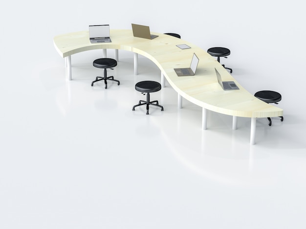 Laptop on work desk in workplace with copy space for your text, 3d render. Premium Photo