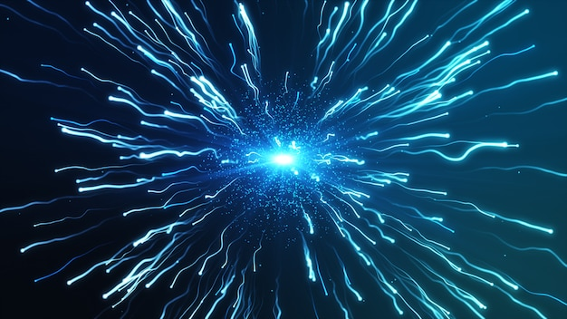 A large blue explosion particles under a microscope Premium Photo