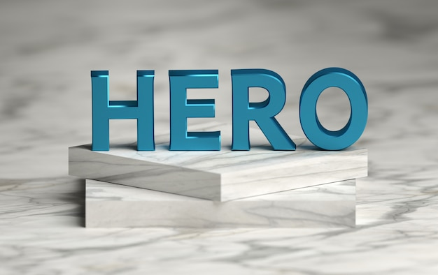 Large bold blue word hero standing on marble pedestal Premium Photo