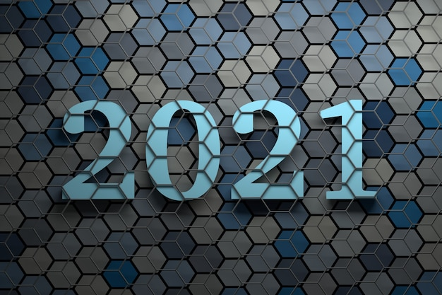 Large bold new year 2021 numbers over surface with many random colored hexagons covered with gray wireframe Premium Photo