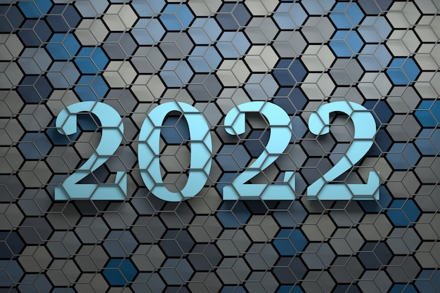 Large bold new year 2022 numbers over surface with many random colored hexagons covered with gray wireframe Premium Photo