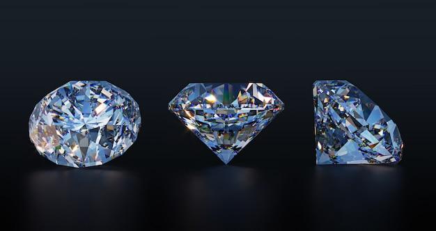 Large clear diamonds on dark table Premium Photo