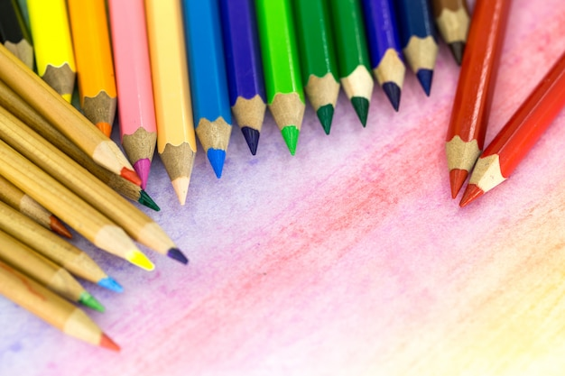 Large colored pencils close-up Free Photo