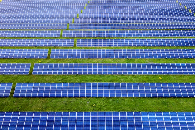 Large field of solar photo voltaic panels system producing renewable clean energy on green grass . Premium Photo